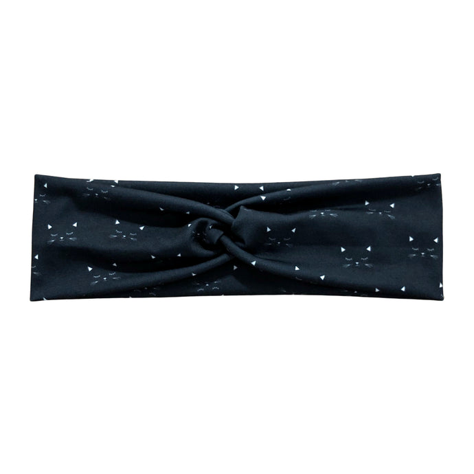 Cat Faces Fabric Knot Headband - Black White