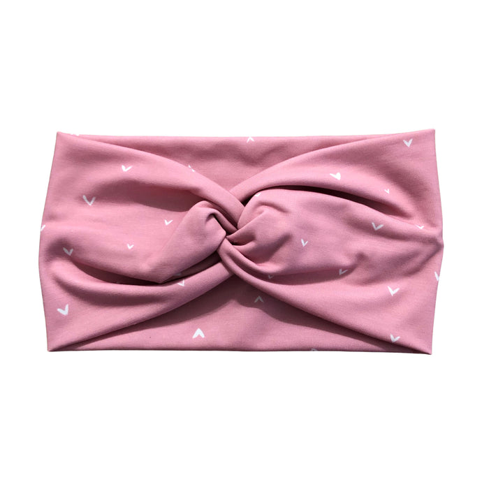 Women's Wide Pink Heart Twist Headband