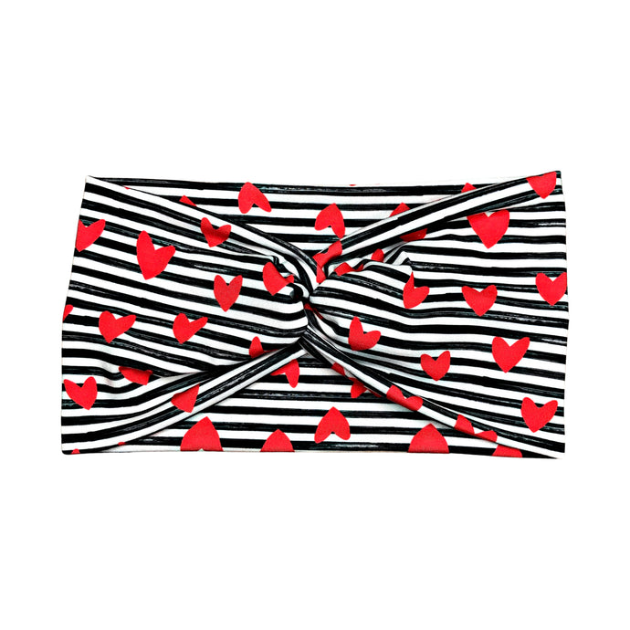 Women's Wide Headband with Red Hearts and Black and White Stripes