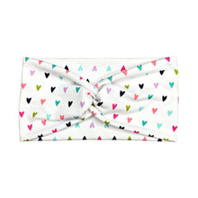 Women's Wide Rainbow Heart Twist Headband - White