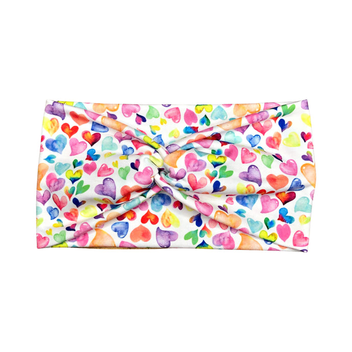 Women's Wide Rainbow Watercolor Hearts Twist Headband