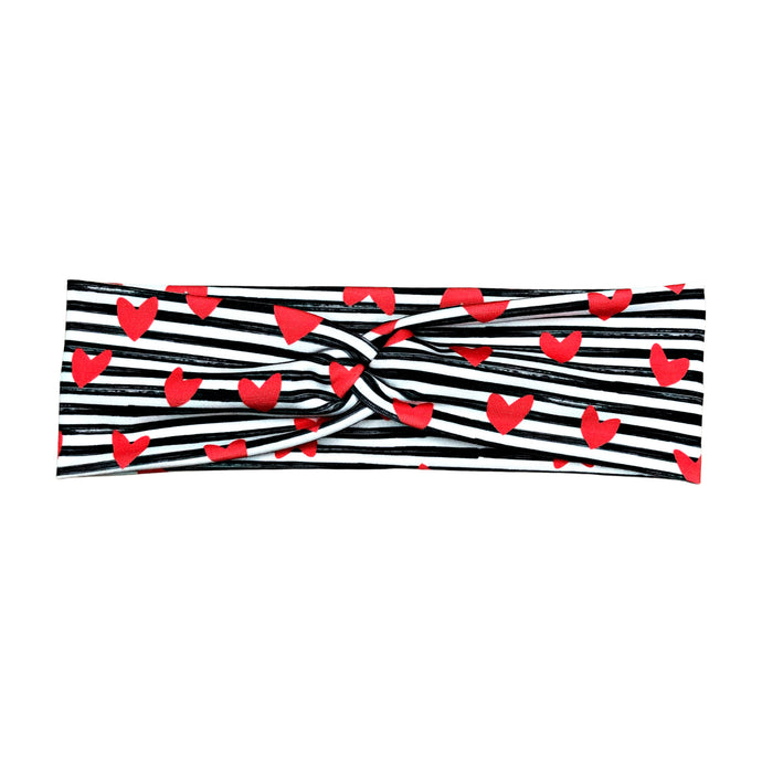 Women's Valentine's Day Heart Headband, Red Hearts Black and White Stripes
