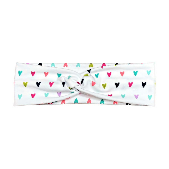 White Rainbow Hearts Headband