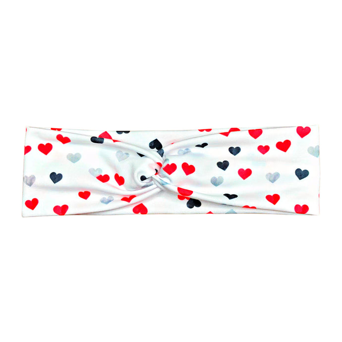 Valentine's Day Hearts Headband - White Black Red Silver