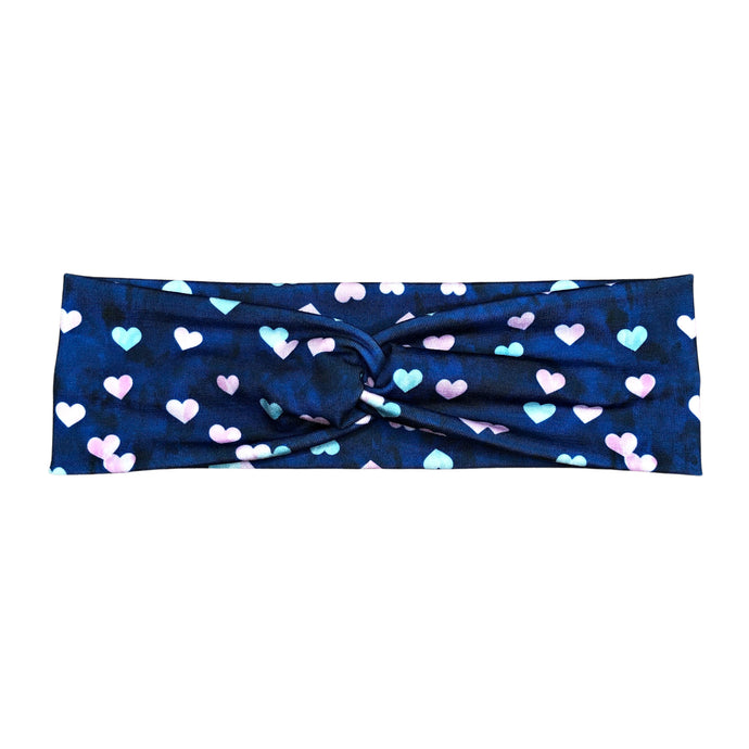 Women's Valentine's Day Headband, Navy with Light Blue and Pink Hearts