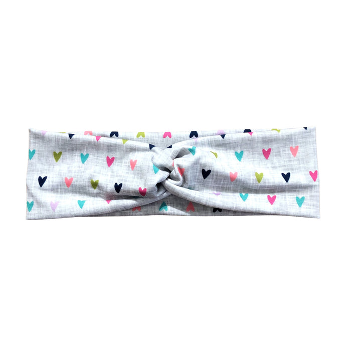 Women's Gray Rainbow Hearts Headband