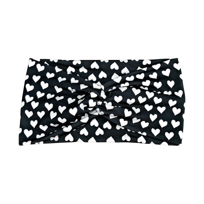 Women's Wide Headband with White Hearts on Black