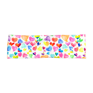 Rainbow Watercolor Hearts Headband