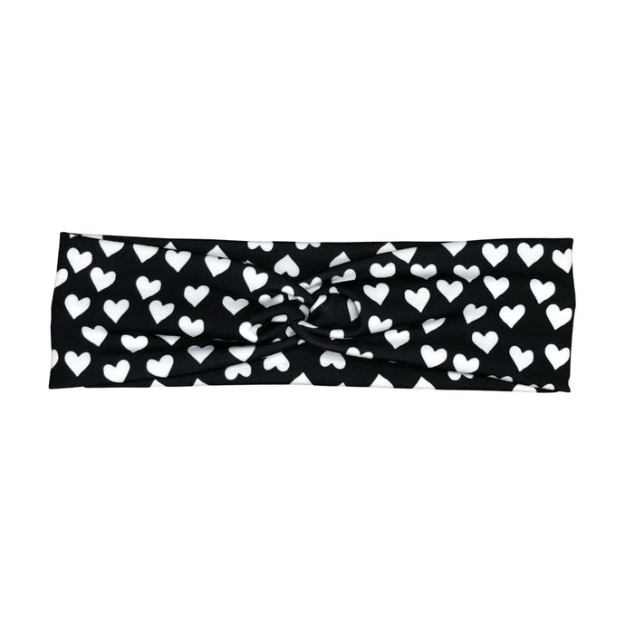 Women's Black and White Hearts Headband