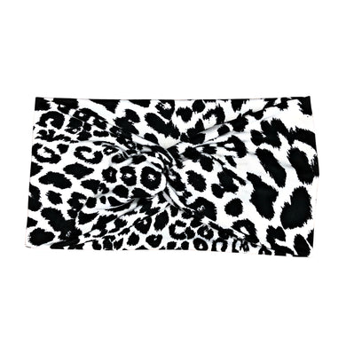 Women's Wide Leopard Print Turban Headband in Black and White