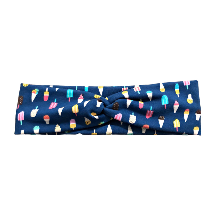 Blue Ice Cream Fabric Knot Headband