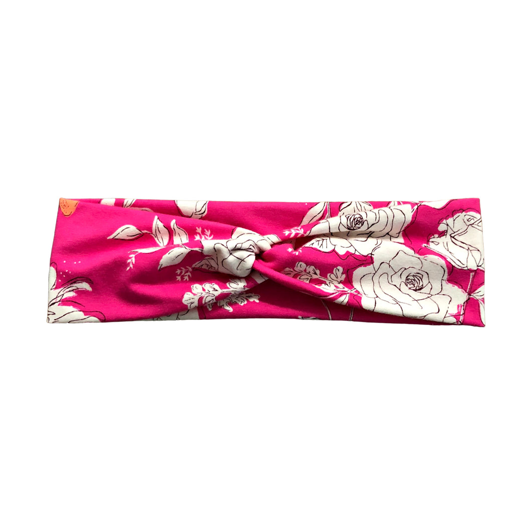 Hot Pink and Ivory Rose Twist Headband