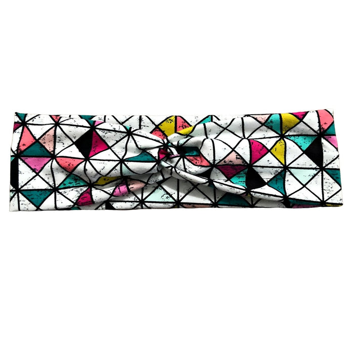 Abstract Mosaic Geometric Triangles Fabric Knot Headband