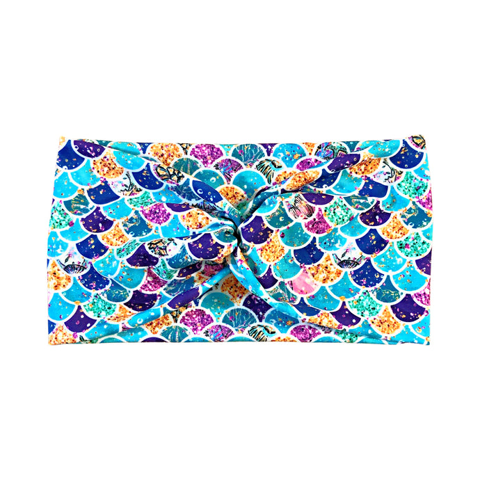 Women's Mermaid Wide Turban Headband - Turquoise