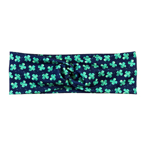 Women's St Patrick's Day Lucky Clover Headband - Navy and Green