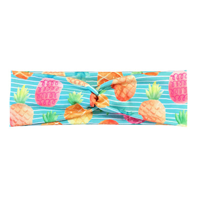 Women's Tropical Pineapple Headband - Mint Blue Stripes