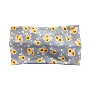 Women's Wide Sunflower Twist Headband - Gray