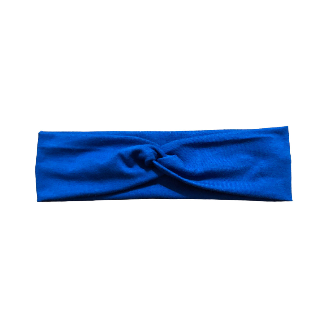 Solid Blue Jersey Knit Fabric Headband with Buttons