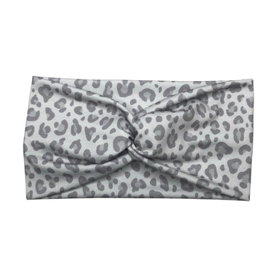 Women's Wide Leopard Print Turban Headband - Light Gray