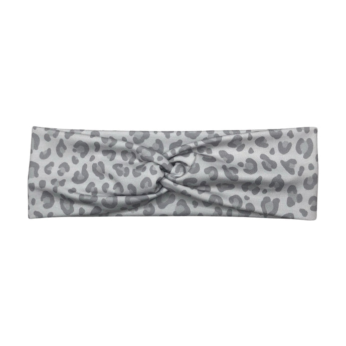 Women's Snow Leopard Print Fabric Headband - Light Gray