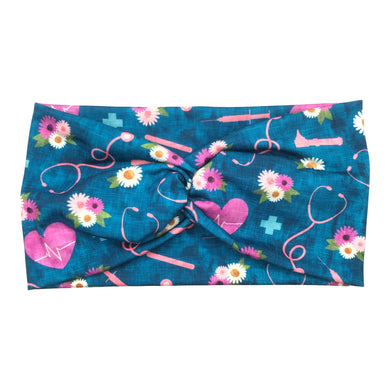 Women's Wide Nurse Print Turban Headband - Teal Floral Melody