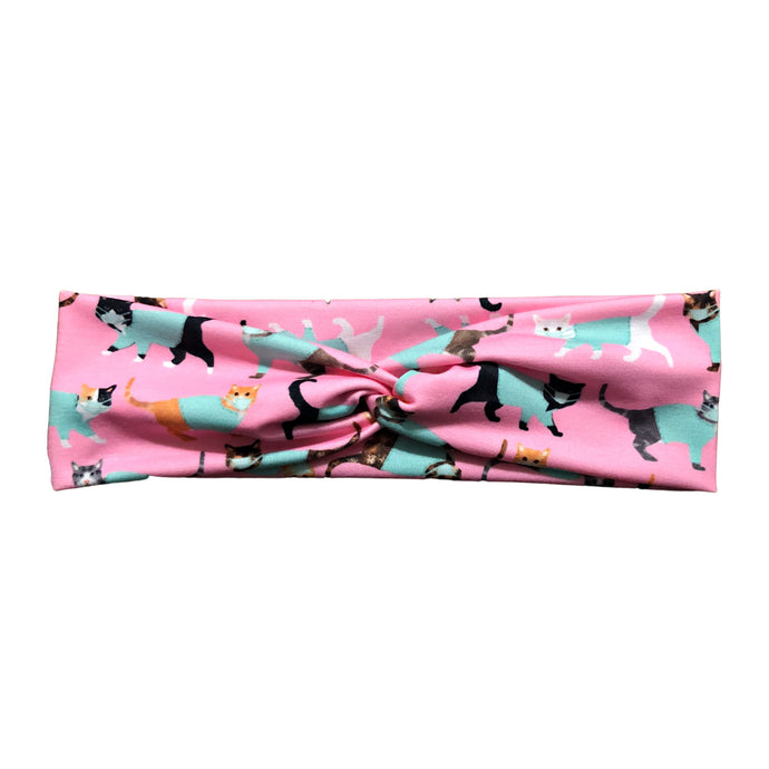 Pink Cats in Scrubs Fabric Knot Headband
