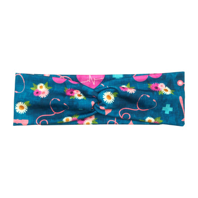 Teal Nurse Floral Twist Headband for Women - Floral Melody