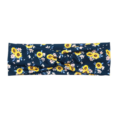 Women's Navy Blue Sunflower Knot Fabric Headband