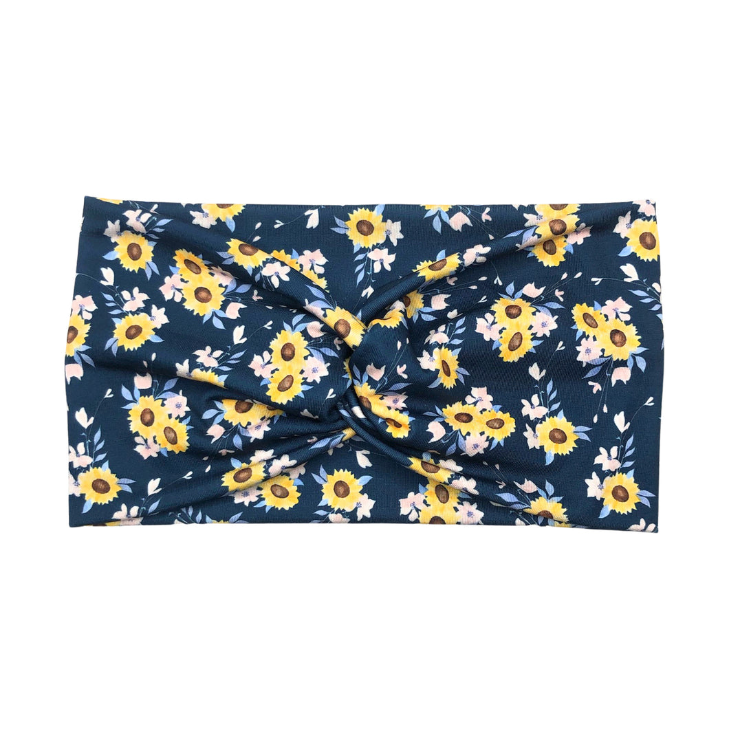 Women's Wide Sunflower Twist Headband - Navy