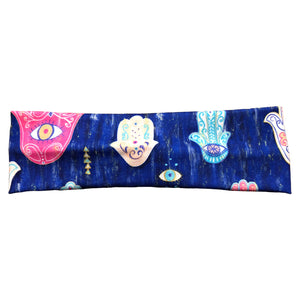 Purple Blue Hamsa Fabric Twist Headband