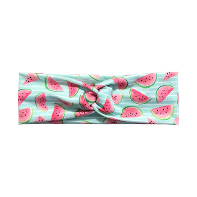 Women's Watermelon Slices Headband - Mint and White Stripes