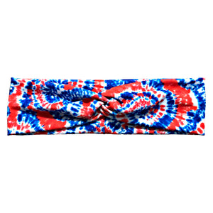 Red White Blue Tie Dye Fabric Headband with Buttons