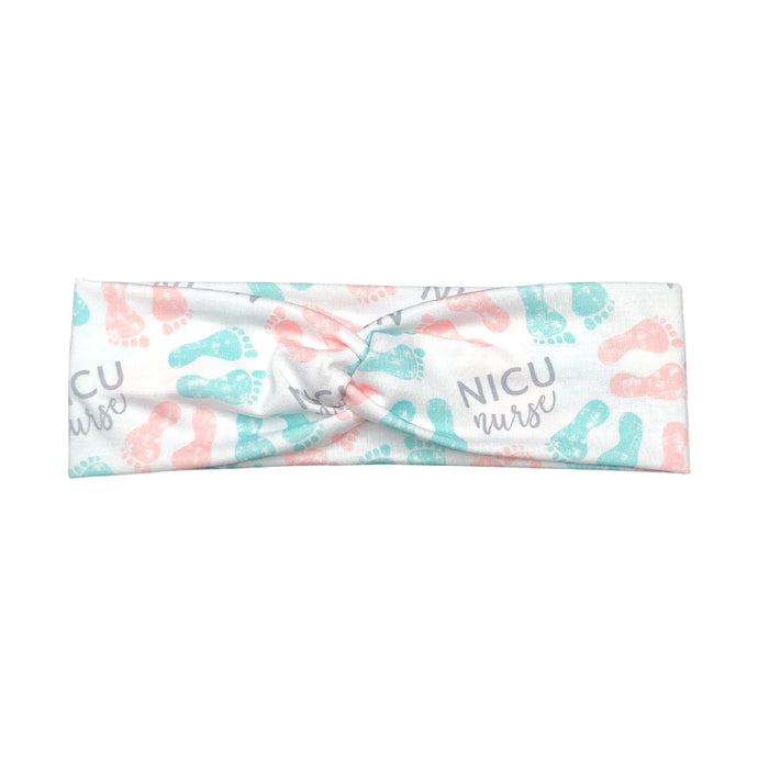 Women's NICU Nurse Headband with Pastel Baby Footprints