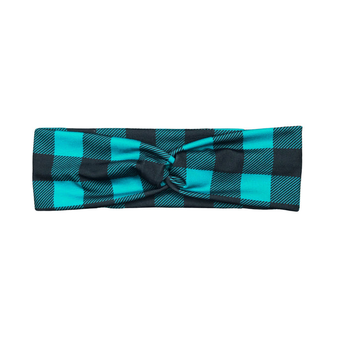 Women's Teal and Black Plaid Fabric Headband