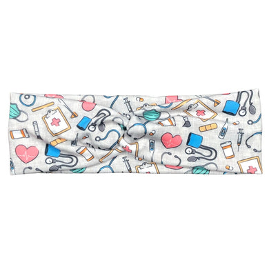 Gray Nurse Print Headband for Women