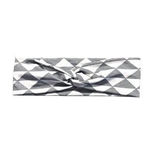 White & Black Striped Triangle Fabric Headband