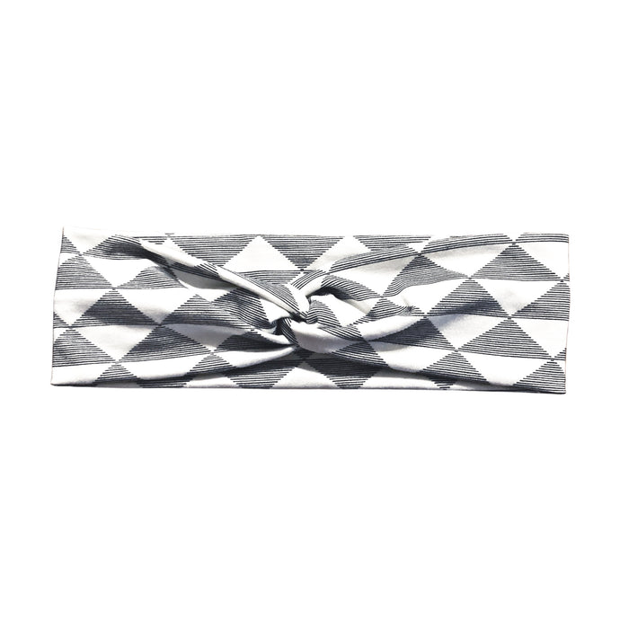 White & Black Striped Triangle Fabric Headband with Buttons