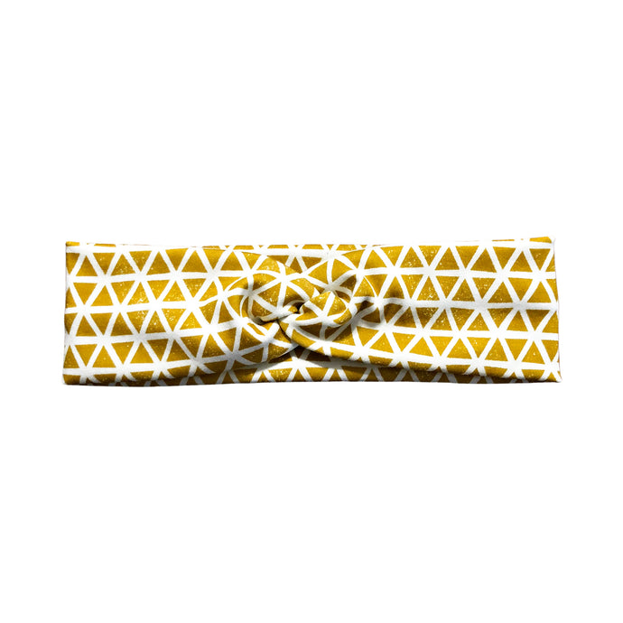 Gold and White Triangle Fabric Headband