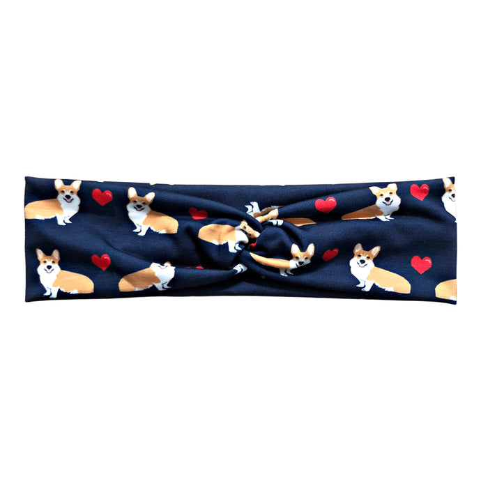 Navy Blue Corgi Dog Love Jersey Knit Headband