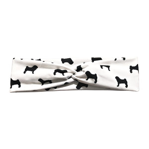 Pug Silhouette Fabric Headband in Navy, White or Black