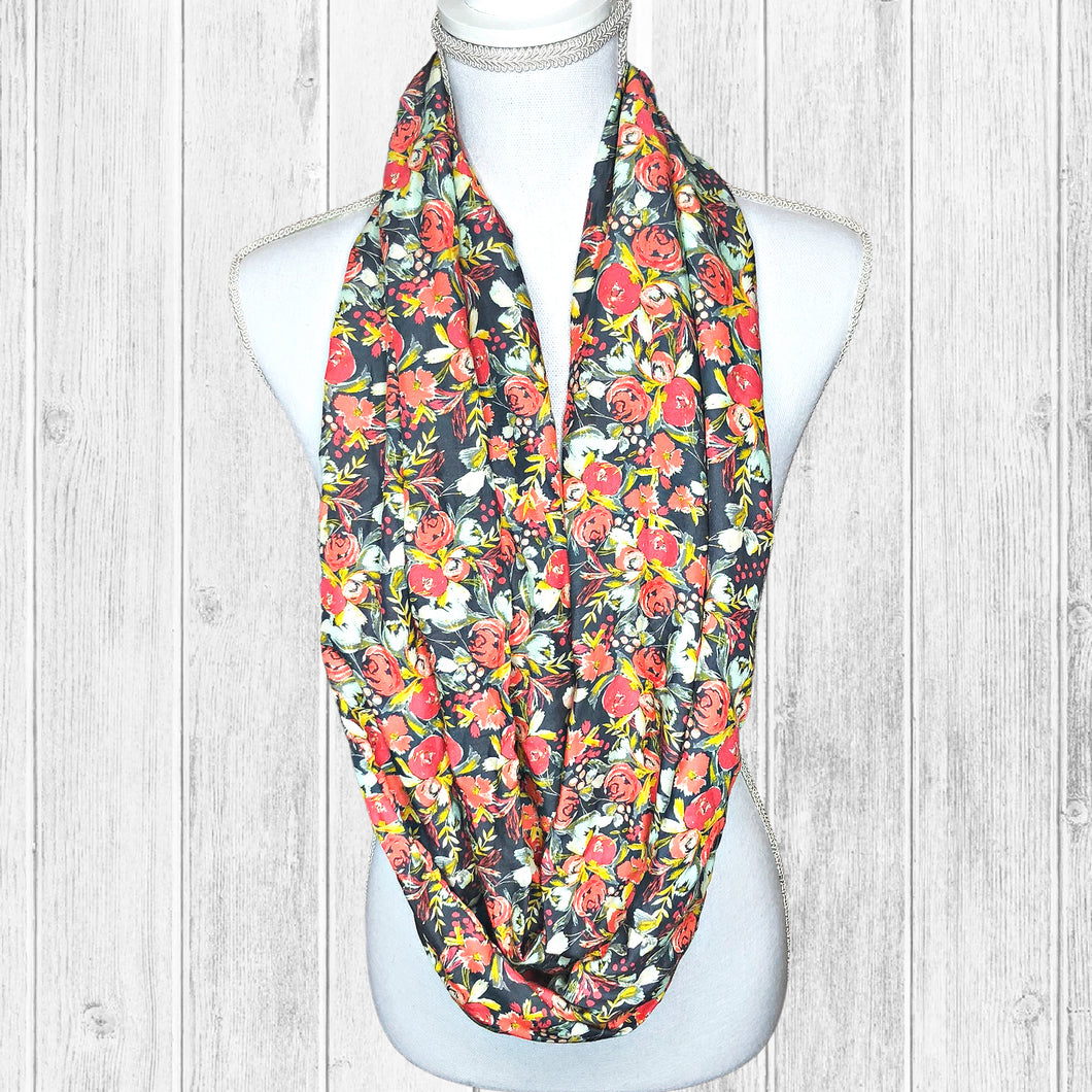 Taupe Coral Boho Floral Infinity Scarf for Women, Flowy Poppy Lightweight Summer Scarf