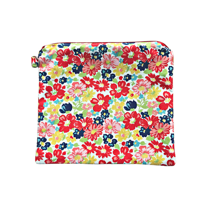 Red Floral Zipper Pouch, Organizing Bag, Makeup Bag, Purse Organizer