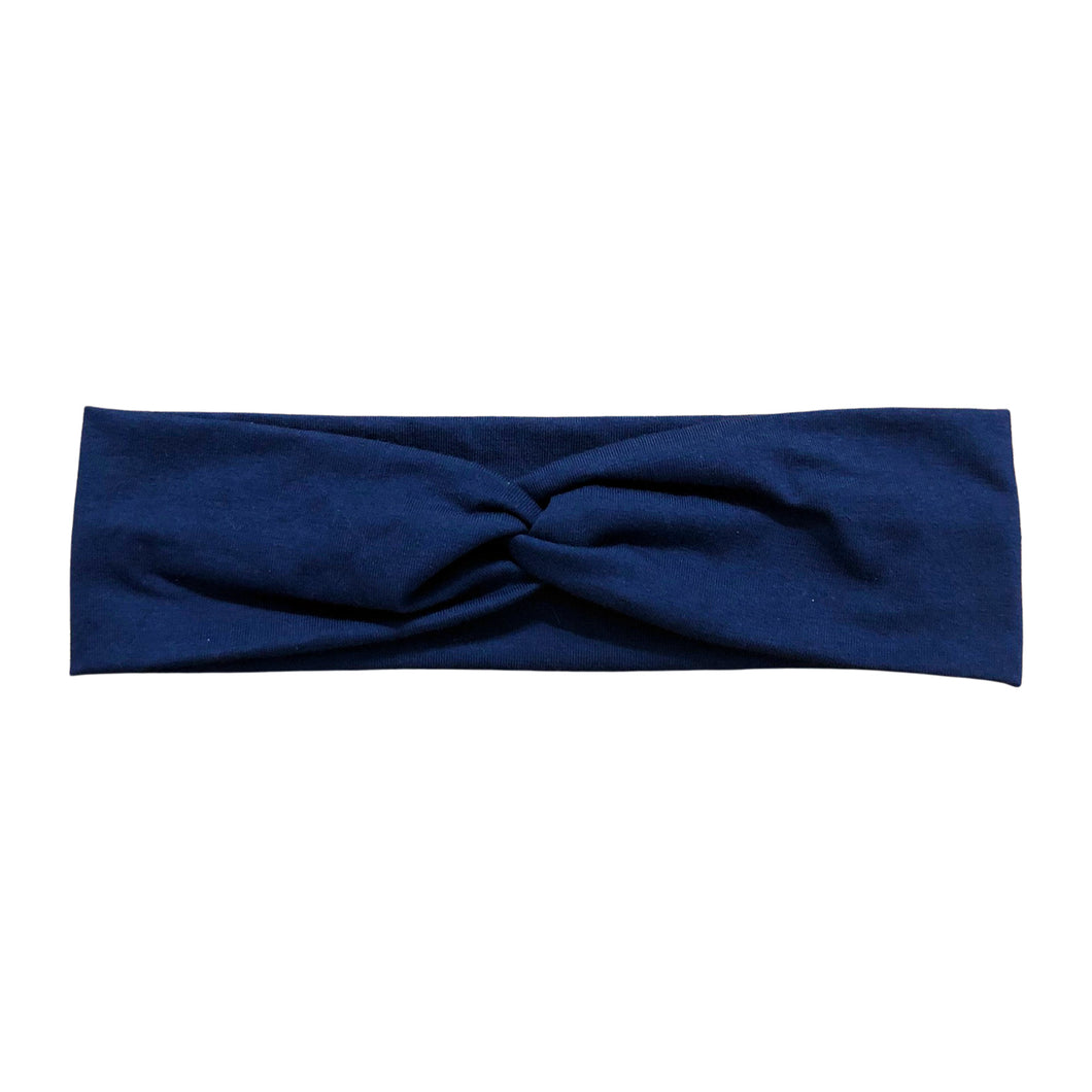 Solid Navy Blue Twist Boho Headband for Women