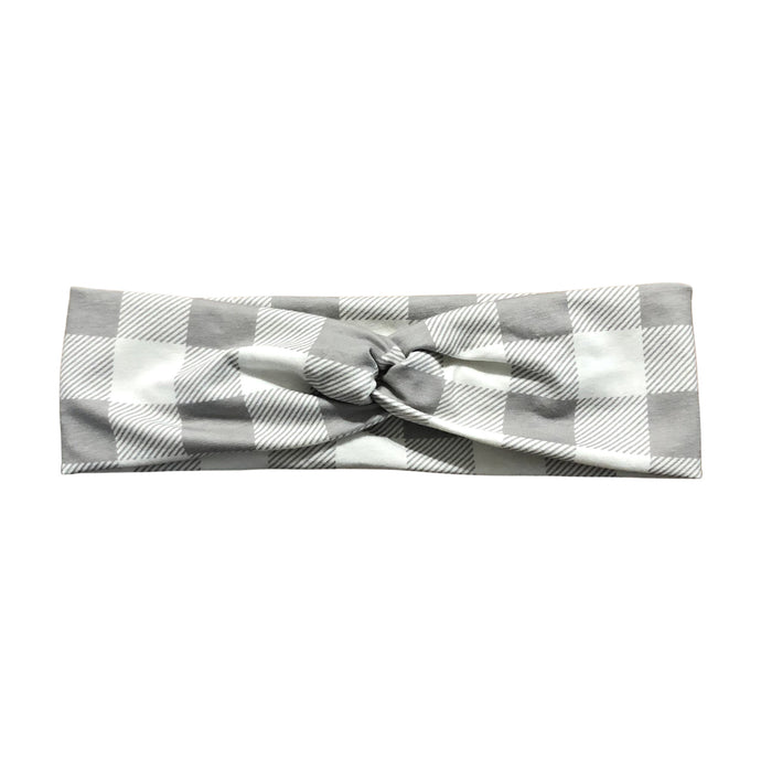 Gray and White Plaid Checkered Headband for Women
