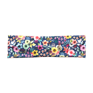 Women's Boho Fall Headband - Blue Multicolor Florals