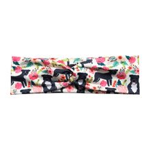 Gray Pitbull Floral Fabric Headband