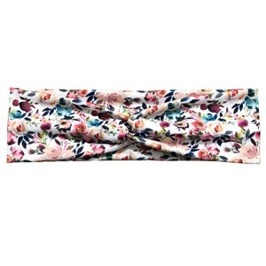 White Peach Floral Fabric Twist Headband