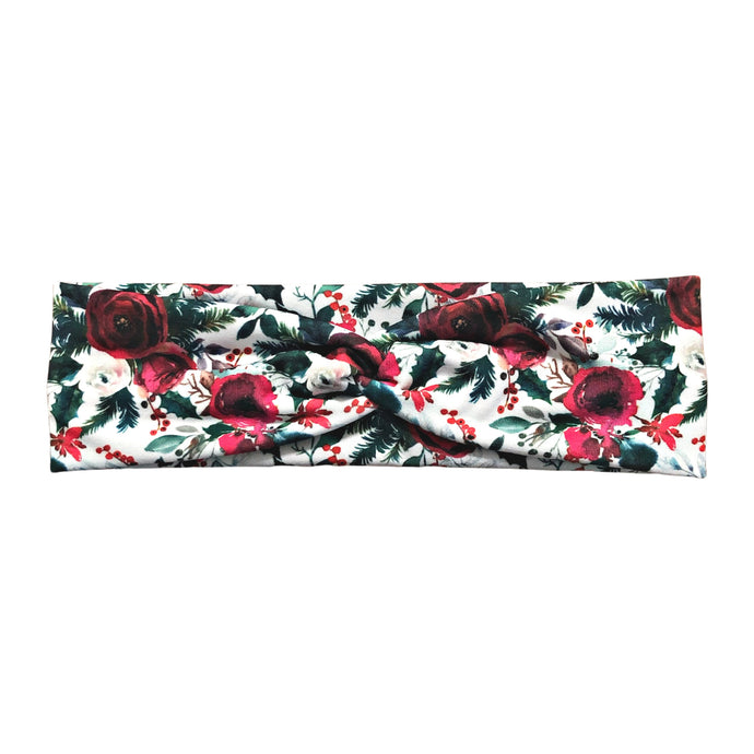 Winter Rose Floral Fabric Headband with Buttons