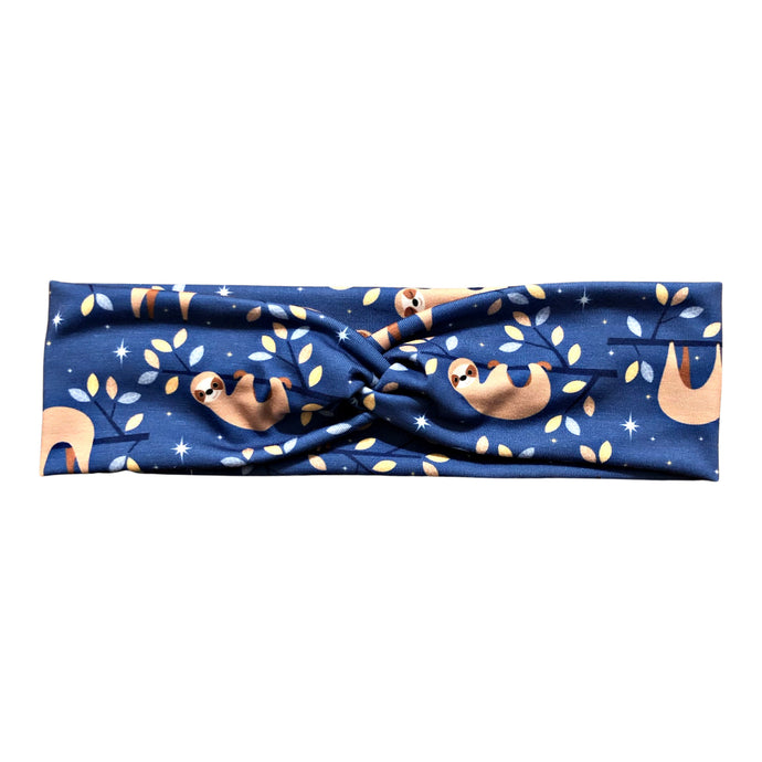 Periwinkle Sleepy Sloths Knot Fabric Headband