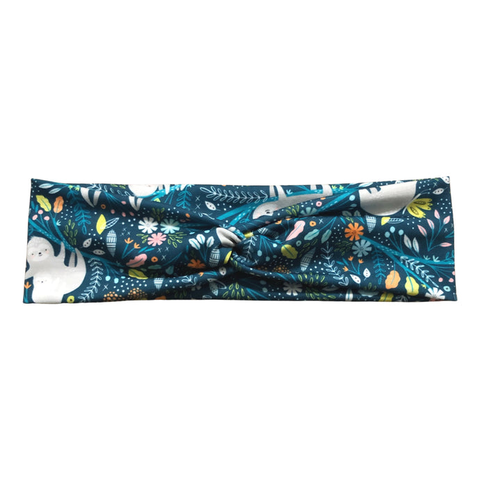 Mommy and Baby Sloths Knot Fabric Headband, Teal